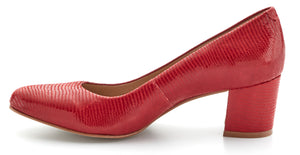 Jessica Pump: Red Patent Lizard Print Leather LIMITED STOCK