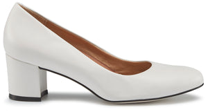 Jessica Pump: White Leather