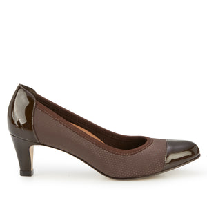 Joanna Pump: Brown Print Fabric with Patent Leather