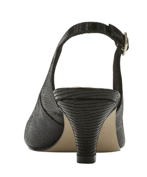 Jolly Sling-back Pump: Black Patent Lizard Print Leather