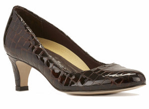 Joy: Brown Patent Croco Print