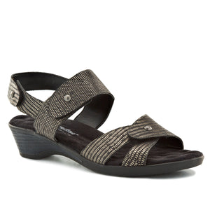 Karen: Black/Silver Metallic Lizard Print Leather
