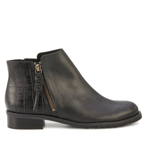 Kason Bootie: Black Tumbled/Croco Print Leather LIMITED STOCK