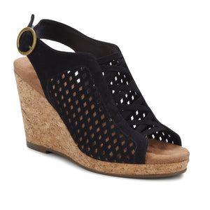 Keegan Wedge Sandal, Cork Covered Heel, Black Nubuck