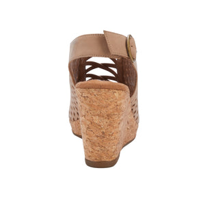 Keegan Wedge Sandal, Cork Covered Heel, Lt Taupe Nubuck