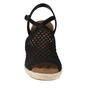 Kendra Wedge Sandal in Black Crochet