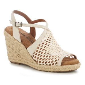 Kendra Wedge Sandal in Ivory Crochet