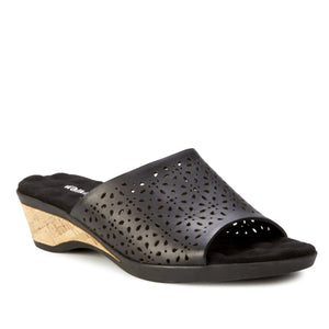 Kerry2 - low heel, cork-covered wedge slip-on sandal