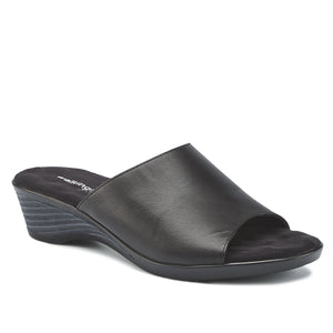 Kerry Black Leather, low heel, stacked-look wedge slip-on sandal