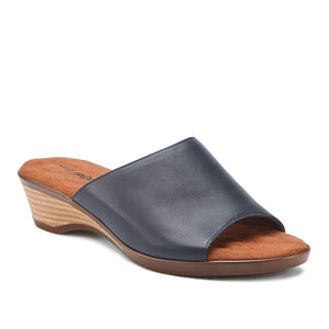 Kerry - Navy Leather,  low heel, stacked-look wedge slip-on sandal