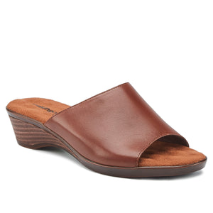Kerry - Tobacco Leather, low heel, stacked-look wedge slip-on sandal