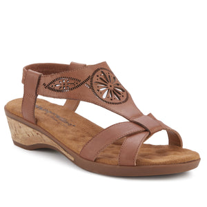 Kiera - Luggage Leather, low heel, cork covered wedge sandal