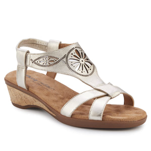 Kiera - Platino Leather, low heel, cork covered wedge sandal