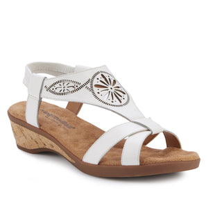 Kiera - White Leather, low heel, cork covered wedge sandal