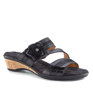 Kimmy - Black Leather, low heel, cork-covered wedge slip-on sandal