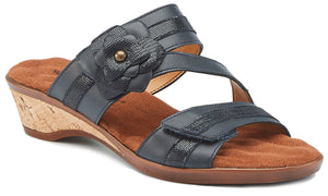 Kimmy - Navy Leather, low heel, cork-covered wedge slip-on sandal