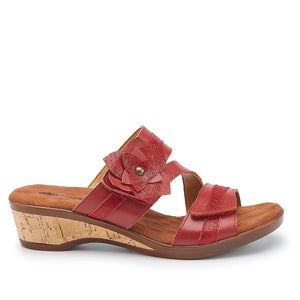 Kimmy: Red Nappa/Patent Lizard Print Leather