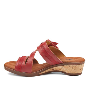 Kimmy - Red Leather, low heel, cork-covered wedge slip-on sandal