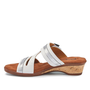 Kimmy - White & Silver Leather, low heel, cork-covered wedge slip-on sandal