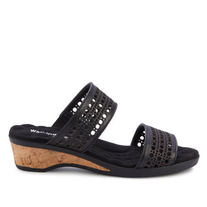 Kiwi -  Black Leather, low heel, cork covered wedge slip-on sandal