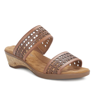 Kiwi -  Luggage Leather, low heel, cork covered wedge slip-on sandal