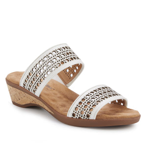 Kiwi - White Leather, low heel, cork covered wedge slip-on sandal