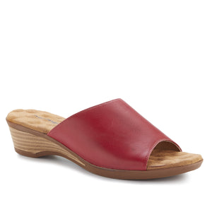 Kerry - Red Leather, low heel, stacked-look wedge slip-on sandal