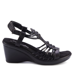 Leona: Black Leather/Black Patent NEW