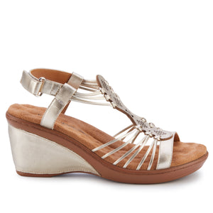 Leona Wedge Sandal: Platino Soft Metallic Sheep Leather