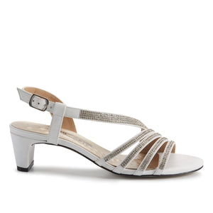 Lettie-2: White Cashmere Leather/Crystal Rhinestones NEW