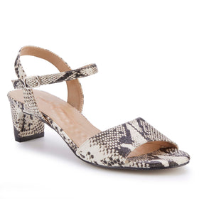 Lydia: Black & Bone Snake Print Leather NEW