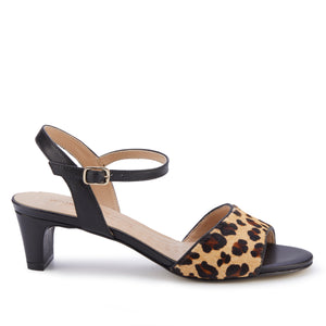 Lydia: Leopard Calf Hair/Black Leather