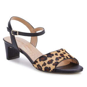 Lydia: Leopard Calf Hair/Black Leather NEW
