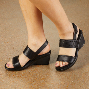 Liberty Wedge Sandal: Black Moroccan Leather LIMITED STOCK