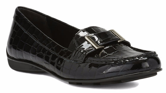 March: Black Lagart Patent Croco Print Leather