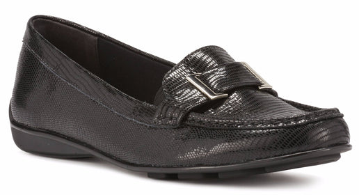 March: Black Patent Lizard Leather