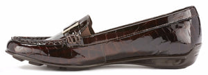 March: Brown Lagart Patent Croco Print Leather