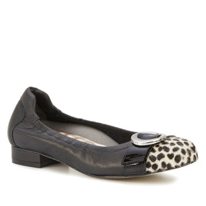 Nadia: Black Leather/Ivory Cheetah/Black Patent LIMITED STOCK