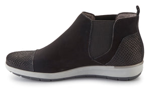Osmond Bootie: Black Matte Snake/Nubuck LIMITED STOCK