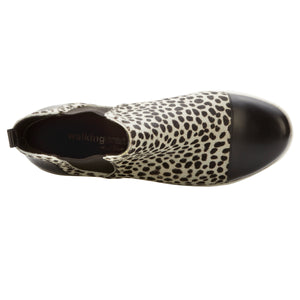 Osmond Bootie: Ivory Cheetah Calf Hair/Black Soft Leather BOUTIQUE COLLECTION