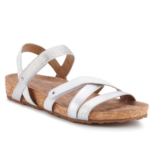Pool Sandal: White & Silver Multi Leather/Cork Wrap NEW