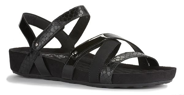 Pool Sandal: Black Textured Multi Leather/Suede Wrap
