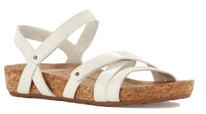 Pool Sandal: White Leather/Cork Wrap