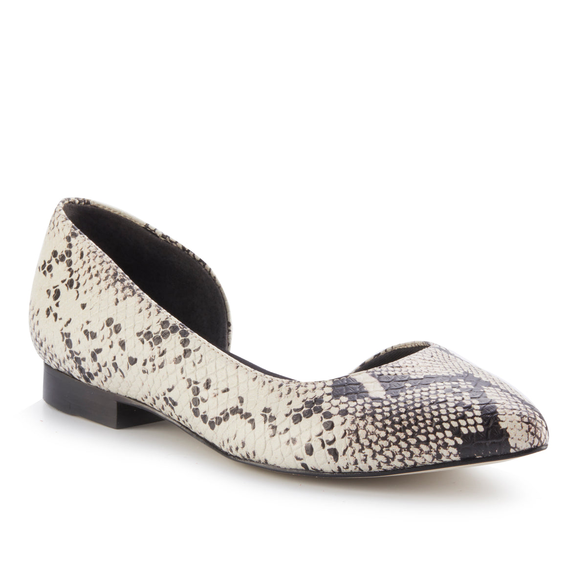 Raya: Bone & Black Snake Print Leather NEW