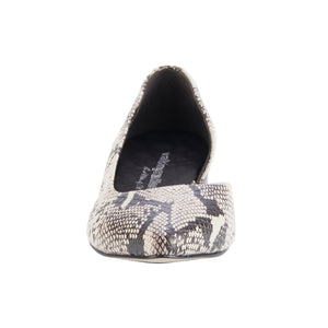 Raya: Bone & Black Snake Print Leather