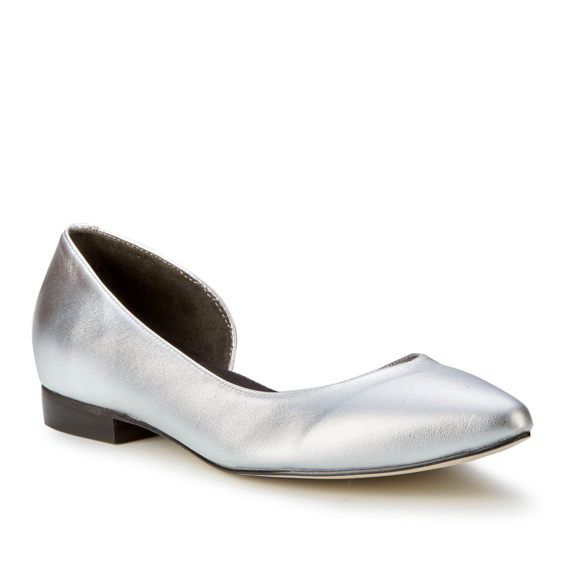 Women's Comfort Flat- Raya in Bright Silver Soft Metallic BOUTIQUE COLLECTION