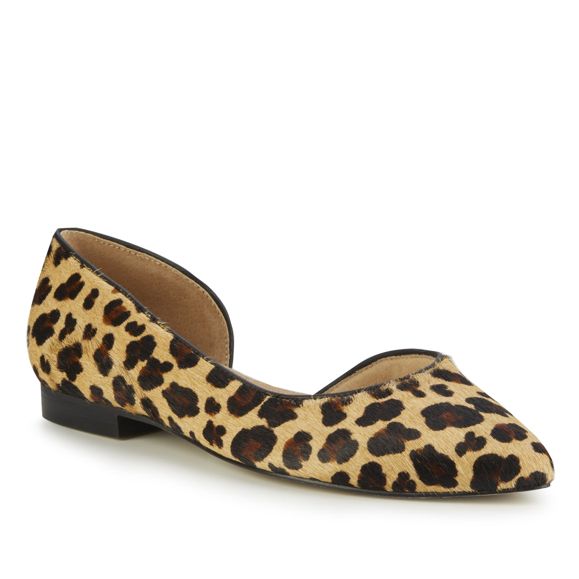 Women's Comfort Flat- Raya in Leopard Calf Hair