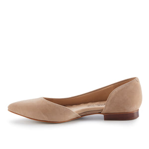 Women's Comfort Flat- Raya in Light Taupe Suede
