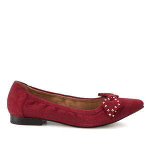 Women's Comfort Flat- Rebecca in Cranberry Suede