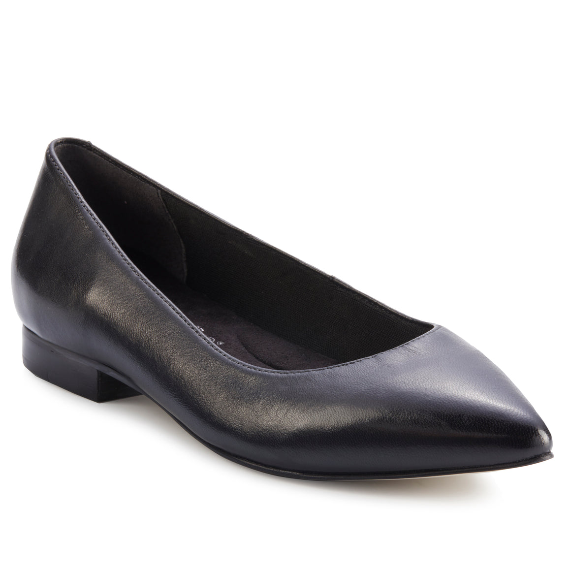Women's Comfort Flat- Reece in Black Leather